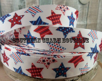 "3 yards 7/8"" multi color and pattern stars"