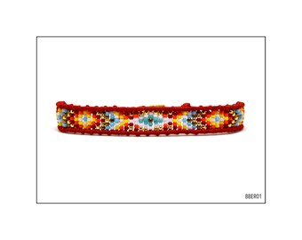 Macrame Bracelet with beads and Evil Eye - Red Multicoloured / BBER01