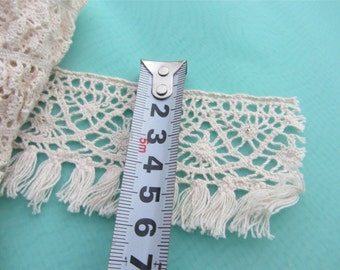 Tassels lace, natural ivory thread lace, fringe lace trims, thread fringing lace tape