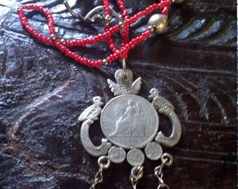 Ethnic Mayan Antique Silver Guatemalan Coins,Coral,Chachal Necklace from Guatemala Antique Charm Necklace,Milagro NecklaceGuatemalan Quetzal