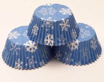 48 Snowflake Blue Snow Print Standard Size Cupcake Liners Baking Cups Greaseproof