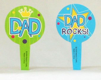 12 Father's Day Dad Rocks Cupcake Picks Toppers Party Favors