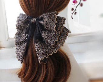 Oversized French Lace Hair Bow Barrette, Bernadette - black & gold, big hair bow, large bow