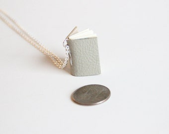 Small Journal Pendant, Book Necklace, Gray Leather, Wearable Book, Tiny Book Charm, Writer Gift, Bookworm, Book Lover, Notebook