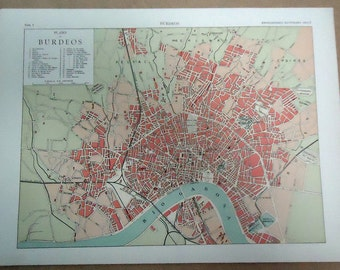 1900 BORDEAUX Original City Map France. Antique fine Lithograph. .... 115 years old nice print!