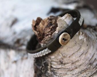 Olive Reindeer Leather Sami Bracelet