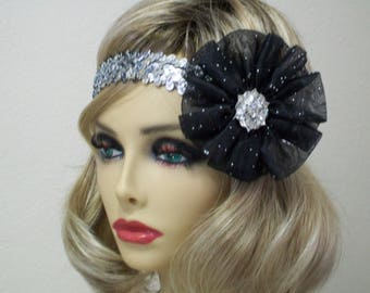 1920s  Headband, Flapper Headband, Flapper Headpiece, Silver and Black Gatsby Inspired Headband, Blooms from the Heart