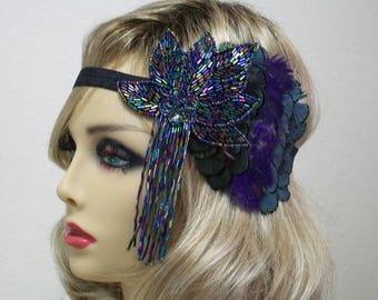 1920s Headband, 1920s Flapper, 1920s Peacock Style, Flapper Headband, 1920s Headpiece, 1920s Hair Accessory, 1920s dress, Vintage inspired