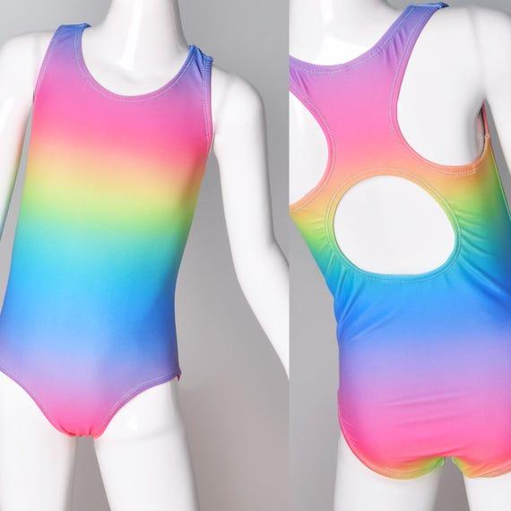 Girls Rainbow Swimsuit. Unicorn Racer Back Bathing Suit, With Open Back. One Piece Swim Suit, Gymnastics, Dance and Swim wear