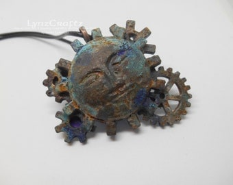 Victoriana Moon rust & patina polymer clay pendant necklace charm resin one of a kind handmade