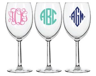 Wine Glass Monogram Decal  - DIY Wine Glass Sticker - Waterproof vinyl - Circle Script Diamond Bridesmaid Gift Wedding Bachelorette Party