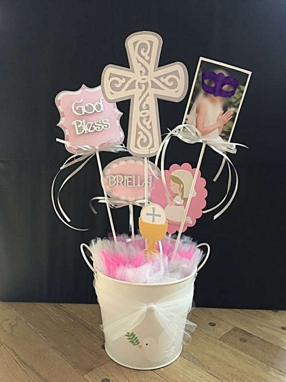 First Holy Communion Table Decoration, Centerpieces, Name, Personalized, God Bless, Photo, Cross, White Pail Centerpiece, Boy, Girl Party