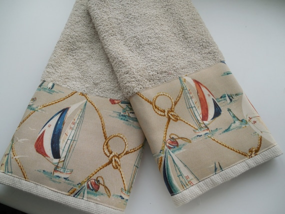 Nautical Sailboat Hand Towel Beach Guest Bath Decor Coastal