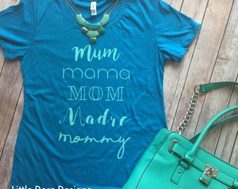 Names for mom mama mommy madre shirt mint and turquoise women's fit