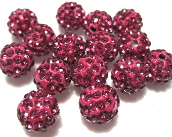 10pcs Fuchsia Pink Polymer Clay Rhinestone Beads Pave Disco Ball Beads 10mm - Grade AAA