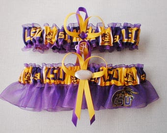 Louisiana State University Fabric Wedding Bridal Garter Set Purple Prom Double Heart and Football Charm