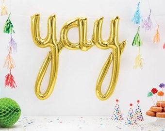 Gold Yay Balloon, Yay Script Balloon, Engagement Party, Wedding Balloon, Gold Balloon Banner, Party Balloon, Baby Shower, Letter Balloon