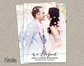 Elopement Announcement Card | Printable We Eloped Photo Wedding Announcement Cards | Modern Calligraphy Surprise Marriage Announcements