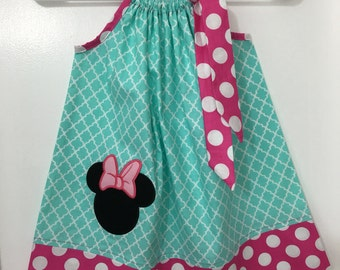 Custom Made Pillowcase Dress-Teal blue Quatrefoil With Minnie Mouse Head Machine Embroidered Applique And Pink Polka Dot Hem and Ribbon-NB-