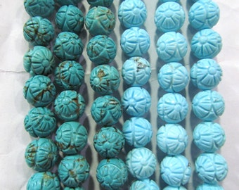 High Quality Turquoise Gemstone  Round  Ball Carved Turquoise Stone  Loose Beads 8-16mm full strand