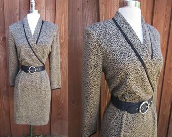 Positive Attitude Cross Bodice Leopard Print Knit Dress Shoulder Pads Elastic Waist Size L/12