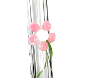 Flower Reusable Glass Drinking Straws