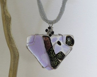 Lavender and Dichroic Fused Glass Pendant with Multi-Stranded Seed Bead Necklace