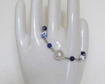 Blue Patterned Porcelain Bracelet with Silver-Plated Bell