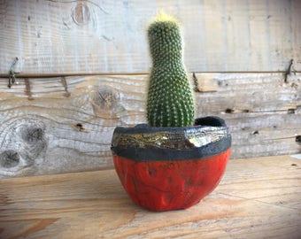 cactus vase, raku planter pot, red ceramic modern