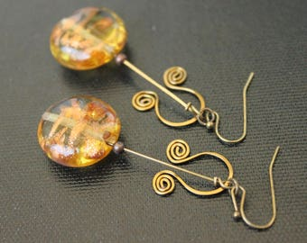 Lampwork and Spiral Earrings - Bohemian Earrings - Sandy Gold Color - Handmade Earrings Dangles - Antique Brass - Tribal Gypsy Style - Boho