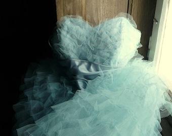 vintage soft blue tulle prom dance ballet dress
