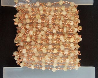 10 Feet AAA+ Quality Peranite Rose Gold Plated 3-4mm Faceted Rondelle Rosary Chain ;SHIPPING FREE