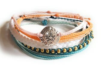 High Tide Set of 5 Waxed Bracelets, Waterproof, Adjustable, Friendship, String Bracelet, Beach