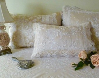 Silk boudoir pillow with vintage embroidered organdy and lace. A stunning piece for your boudoir.