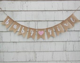 Baby Girl Shower Banner, Baby Girl Shower Decorations, Baby Girl Burlap Banner, Baby Girl Bunting, Pink Shower Decor, Rustic Baby Shower