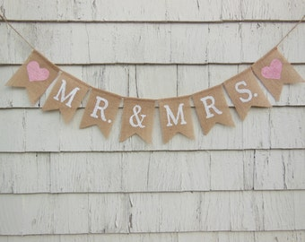Mr and Mrs Banner, Mr and Mrs Bunting, Mr and Mrs Garland, Burlap Banner, Burlap Garland, Rustic Wedding Decor, Country Wedding Sign