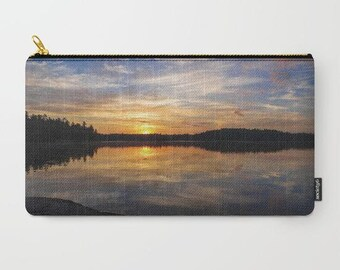 Large Makeup Bag Small Pouch, Zipper Pouch, Nature Photography, Accessory Bag, Sunset Print, Cosmetic Bag Large, Minnesota Gifts for Her