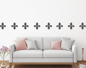 Set of 50 Fleur De Lis Wall Stickers, Wall Pattern Decals, Wallpaper Decal, Wall Transfer, Gothic Decal, Confetti Decals, Wall Decals