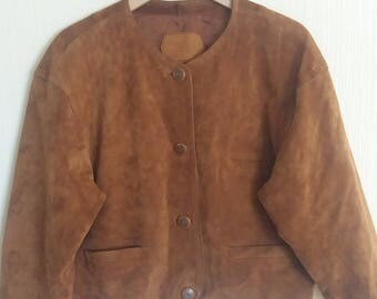 Vintage 80s Brown Women Genuine Leather Jacket