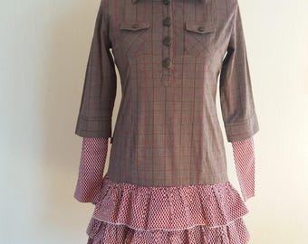 Vintage Womens Brown/Pink Stripped Dress Large Size