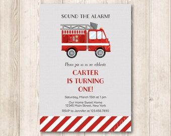 Red Firetruck Birthday Invitation, Fire Truck, Firefighter, Sound The Alarm Birthday Invite, Printable Invites, 5x7 JPG
