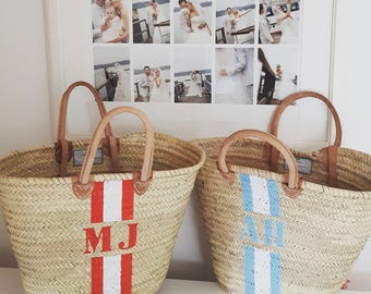 Beach Monogram Basket custom made initials monogram