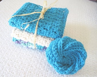 Washcloth Set, Bridal Shower Gift, Crochet Cotton Spa gift set, Cotton Dishcloths, Turquoise Blue and Cream Beige washcloths, gift for her
