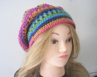 Slouchy Hat, Hipster Boho Colorful Slouch Hat, Gift for her, Women's Teen Girl Hat Slouchy Beanie, Women's Beanie