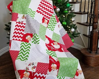 Quilt Top for Christmas, Classic Santa and Chevron Prints, 48x48
