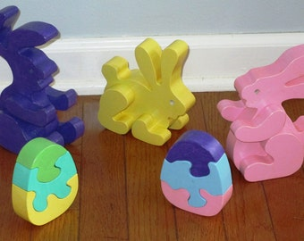 Bunny Rabbit Playset with Egg Puzzles