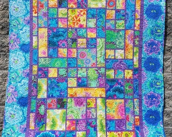 Garden Plot Quilt kit with Kaffe Fassett fabric.  Varies sizes