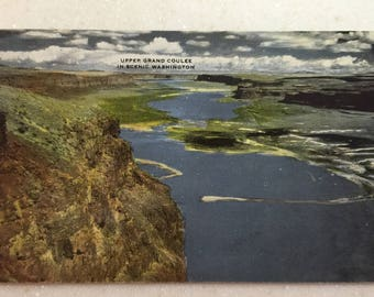 Vintage Postcard Upper Grand Coulee Dam Columbia River in Scenic Washington