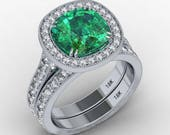 RESERVED  For Noel Custom Engagement Ring 18k white gold 9mm cushion cut emerald & genuine diamonds Matching wedding band