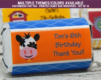 Farm Birthday Party - Farm Birthday Party Decorations - Farm Birthday Party Favors -Farm Birthday Party Supplies - 18 Candy Bar Wrappers